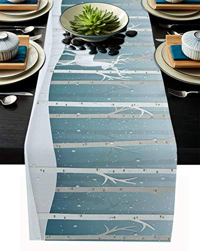 Christmas Table Runner-Cotton Linen-Winter Dinner Scarf Décor,Long 90 Inch Holiday Forest Reindeer Dresser Scarves,Farmhouse Xmas Tablerunner for Kitchen Coffee/Dining Bedroom Home Living Room