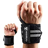Wrist Wraps (18' Premium Quality) for Powerlifting, Bodybuilding, Weight Lifting - Wrist Support Braces for Weight Strength Training (Black/Grey)