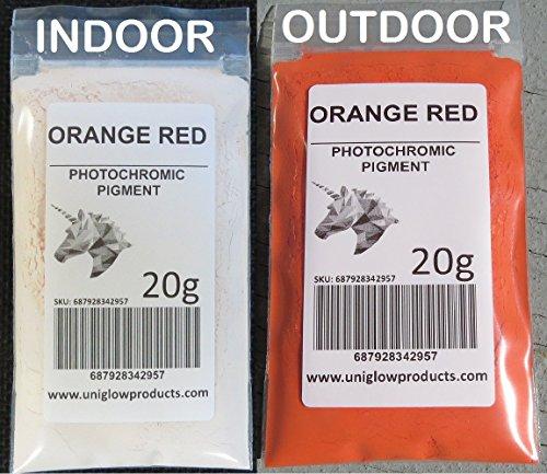Pigmento fotocromatico che cambia colore se esposto alla luce solare o ai raggi UV, e che ritorna al colore originale quando non esposto alla luce. 1g Orange Red