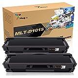 7Magic MLT-D101S Reemplazo de cartucho de tóner compatible para Samsung SCX-3405W SCX-3405 SCX-3400 ML-2165W ML-2165 ML-2160 ML-2168 ML-2162 Impresoras SF-760P de alto rendimiento (paquete de 2 negro)