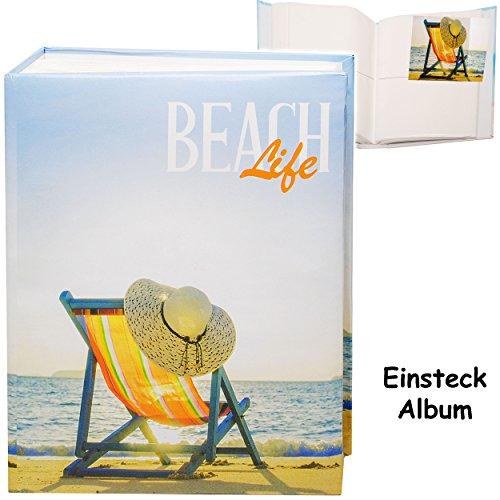 alles-meine.de GmbH großes Einsteckalbum / Memoalbum / Fotoalbum -  Reise / Urlaub - Strand Liegestuhl & Sonnenhut  __ 200 Bilder & Fotos - 10 x 15 - Gebunden zum Einstecken - ..