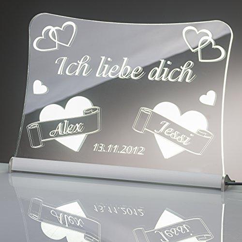 """LED Acrylglas Schild\""""Ich liebe dich\"""", 20x15 cm, mit persönlicher Laser Gravur (weiß)"""