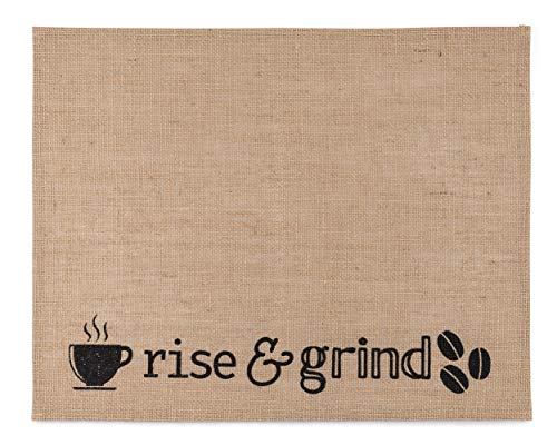 """Coffee Mat Placemat for Bar I Coffee Maker Mat Made of Burlap/Jute with Plastic Laminate Backing I Size of Coffee Cup Mat 14"""" x 18"""" I Kitchen Mat Coffee Theme I Farmhouse Coffee Bar Decor"""