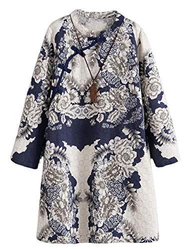 Minibee Women's Linen Dress Long Sleeve Retro Tunic Dresses Ethnic Floral Print Clothing Blue XL