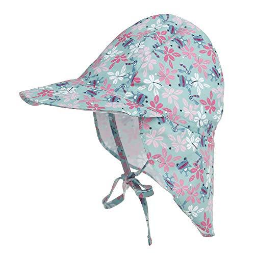Geagodelia Sombrero de sol para bebé, niño, niña, protección UV UPF50+ para niños, suave, gorro de verano, para playa, exterior, viajes, vacaciones Flor y rana 6-18 meses