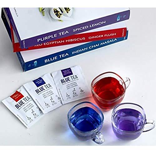 BLUE TEA – Assorted 21 Days Detox Tea Pack, Caffeine Free Herbal 3 Flavors Tea (21 Teabags – 42 Cups)