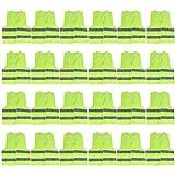 Chaleco Alta Visibilidad (Pack de 24) - Chaleco Seguridad Grande Amarillo Resistente con Tiras Grises Reflectantes para Correr, Ciclismo, Agente de Tránsito, Seguridad, Hombres y Mujeres, Policía