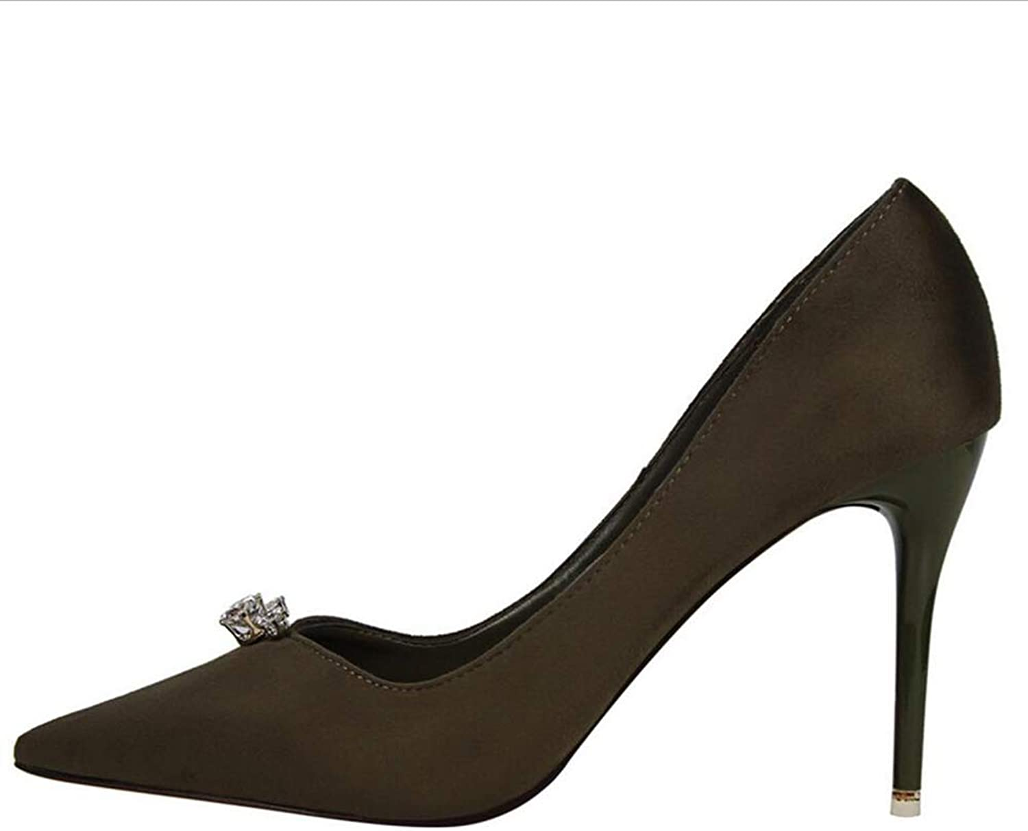 Court shoes Women's shoes shoes Simple Sexy Fine Heel High-Heeled Shallow Mouth Pointed Suede Rhinestone shoes High-Heeled shoes Haiming (color   Green, Size   37)