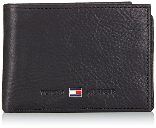 Tommy Hilfiger Johnson Mini CC Flap & Coin Pocket - Cartera para Hombre, Color Black 990, Talla 11x9x2 cm (B x H x T)