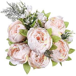 Floralsecret Artificial Silk Peony Flower Vintage Fake Bouquet Home Wedding Decor(Spring Pink)