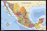 Trends International Map - Mexico Wall Poster, 22.375' x 34', Poster & Mount Bundle
