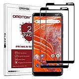 OMOTON [2 Stück] Panzerglas Schutzfolie für Nokia 3.1 Plus (6 Zoll), volle Bedeckung, Anti-Kratzer, Bläschenfrei, 9H Festigkeit, HD-Klar, 3D R&e Kante, Bildschirmschutz für Nokia 3.1 Plus, Schwarz