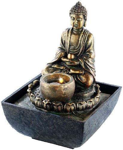 infactory Springbrunnen: Beleuchteter Zimmerbrunnen mit Buddha (LED Zimmerbrunnen)