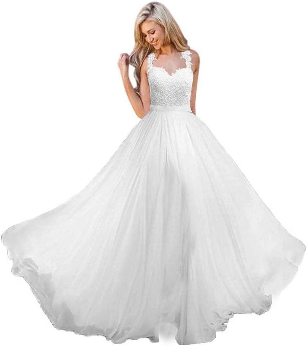 Andybridal A Line Spaghetti Straps Sweetheart Lace Chiffon Bridal Gowns Beach Wedding Dress