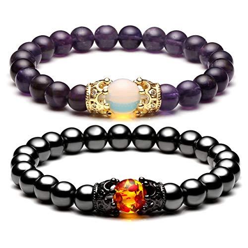 Jovivi 2pcs Couple Bracelets for Men Women 8mm Amethyst Magnetic Hematite Healing Energy Beads Stretch Crown King Charm Bracelet Adjustable