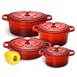 ProCook Cast Iron Induction Enamel Casserole Set 4-Piece Graduated Red