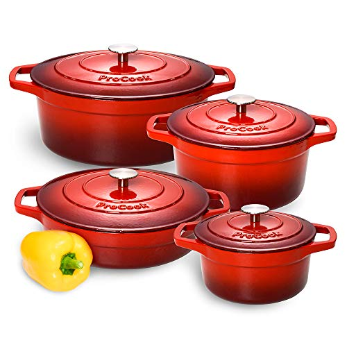 ProCook Cast Iron Induction Enamel Casserole Set 4 Piece Graduated Red