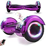 Wind Way Hoverboard 8' - Bluetooth Musique - Moteur 700W - Vitesse Max 15KM/H - Distance Max 20KM - 4.4AH - LED - Auto Equilibré - Cadeaux Enfants Adultes - Scooter Electrique Pas Cher- Violet Chromé