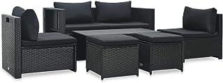 Benkeg Set Muebles de Jardín 6 Piezas y Cojines Ratán Sintético Negro, Conjunto de Comedor de Ratán Conjunto de Muebles de Jardín Conjunto de Sofás de Jardín de Ratán