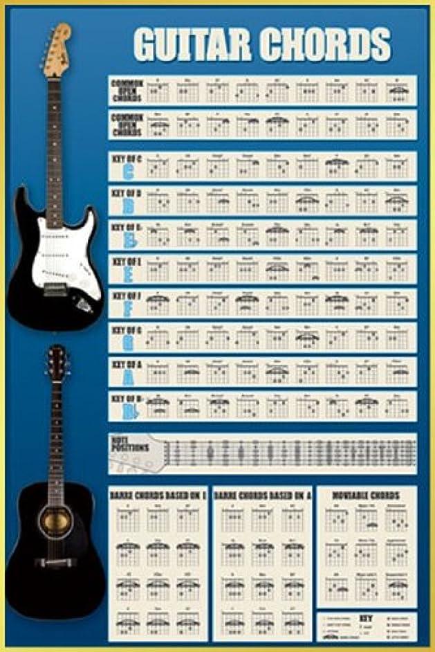 面積煙突コマンドポスター ギターコード表+アルミフレーム(ゴールド)セット PP-31228G