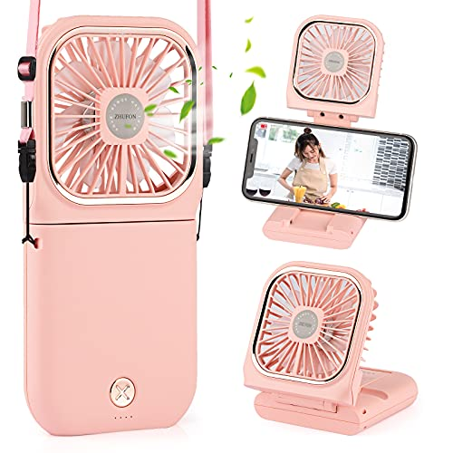 ZHUFON 5 IN 1 Small Fan(Desk Fan, Neck Fan, Handheld Fan, Phone Holder, Power Bank), Mini Rechargeable USB Fan for Travel, Outdoors, Hiking, Camping, Kitchen(Pink)
