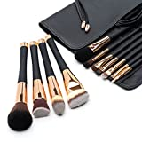 Fancii Professional Makeup Brush Collection, 12pcs Set High End Cosmetic Brush, Cruelty Free Synthetic Bristles for Foundation Blending Powder Blush Eye Shadow, Travel Leather Clutch, Rose Gold