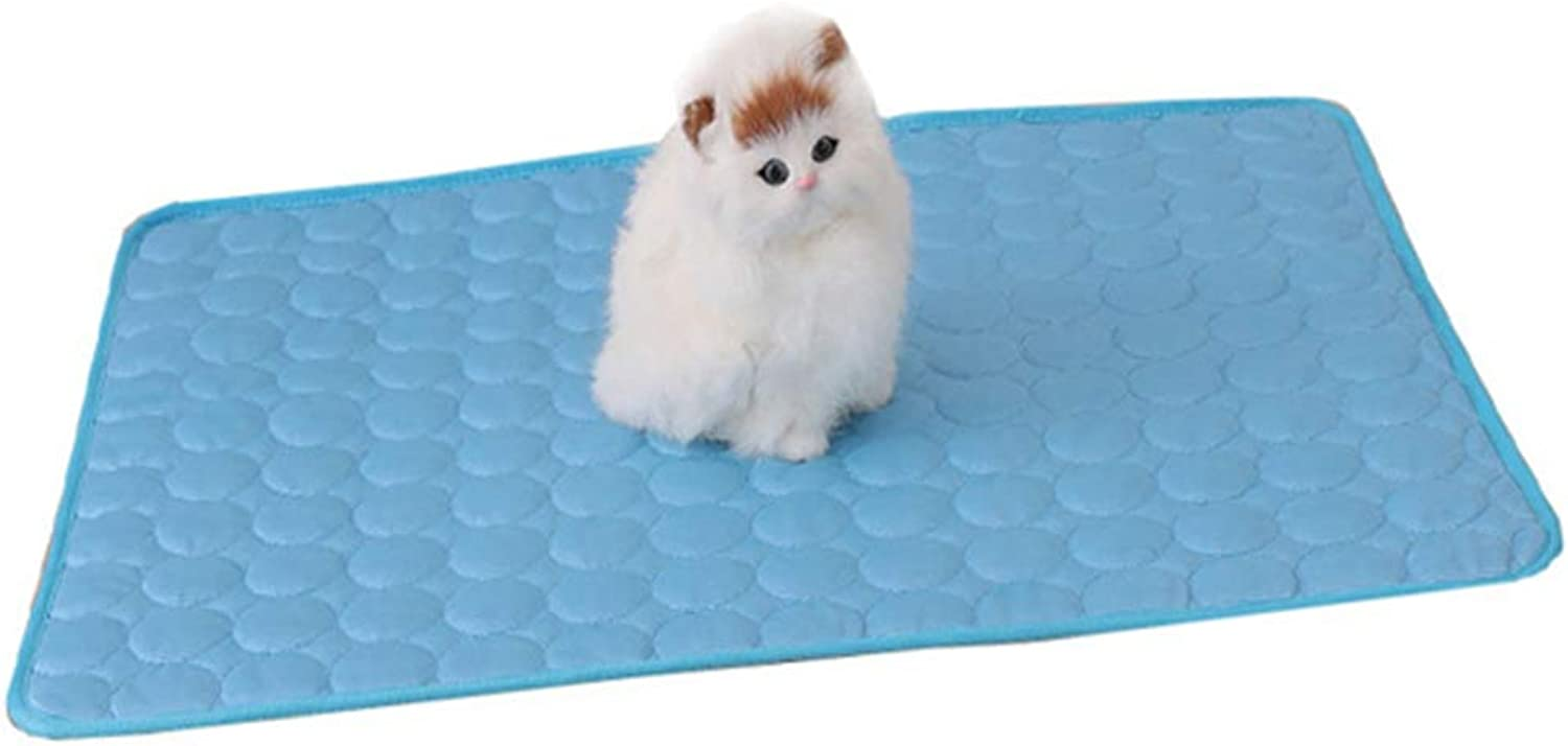 Dog Cooling Bed Mat, Cats Self Cooling Pad Summer Sleeping Cool Ice Silk mat, Non Sticking NonToxic Breathable Washable Pet Cooling Mat for Pet,bluee,M