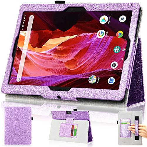 DMLuna Funda para tablet Dragon Touch K10 de 10' / Notepad K10 / Max10 / ZONKO K105 10.1 Premium de piel para Lectrus 10.1, Victbing, Hoozo, Winsing 10 con ranura para tarjeta de mano, color morado