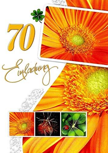 Uitnodigingskaarten 70 verjaardag man vrouw met binnentekst motief bloemen 10 vouwkaarten DIN A6 staand met witte enveloppen in set verjaardagskaarten uitnodiging 70 verjaardag vrouw man K252