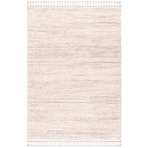 MyShop24 Alfombra de salón Shaggy crema – 140 x 200 cm – Dormitorio de pelo largo – Con flecos de patrón jaspeado – Oeko Tex 100 Standard – apta para alérgicos