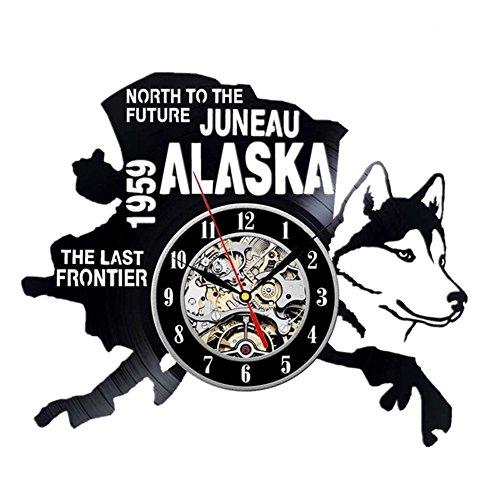 YUN Clock@ Wanduhr aus Vinyl Schallplattenuhr Upcycling Familien Decoration 3D Alaska Design-Uhr Wohnzimmer Schlafzimmer Restaurant Wand-Deko Kunst Geschenk/Durchmesser 30 cm