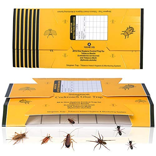 Stingmon 12 Pack Roach Killer Roach Bait Traps Cockroach Killer Indoor Home Glue Traps for Crickets Roaches Bugs Spiders Beetles
