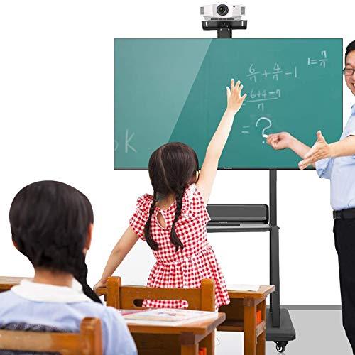 Soporte TV Trole Móvil Sala de estar Soporte universal para TV para TV de 32 a 75 pulgadas, Negro Carros de montaje en suelo para TV con estante de almacenamiento y ruedas de freno, Carga máxima 150 k