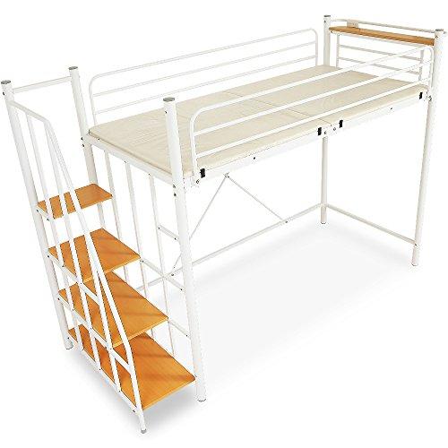 LOWYAロフトベッド階段宮コンセント付ベッドロフトパイプベッドシングルホワイト