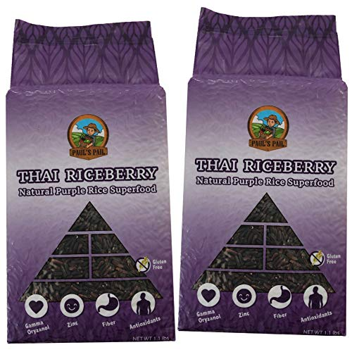 Paul's Pail Thai Riceberry Natural Purple Rice Superfood (2 pack, 2.2 pounds total)