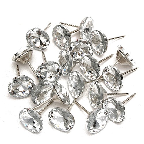 KING DO WAY Lote de Clavos De Tapicería (Decoratif de Metal Cristal Botones para Mueble Sofá Silla Cabecero de Cama 3.2cm x 2cm