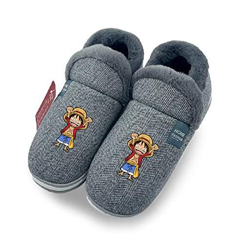 YZJYB Zapatillas De Interior para Mujer One Piece Monkey D. Luffy Impreso En 3D Pantuflas De Espuma Zapatos Zuecos Comodos para Interiores Y Exteriore,UK 6~8/EU 39~41(270)
