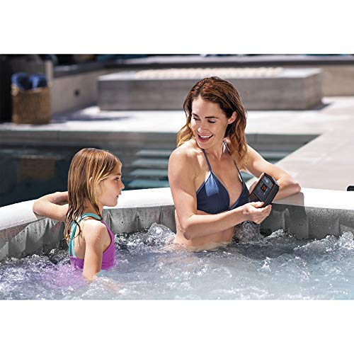 Intex PureSpa Greywood Deluxe 6 Person Portable Inflatable Hot Tub Bubble Jet Spa with Wireless Controls, Hardwater Treatment, Filter and Cover