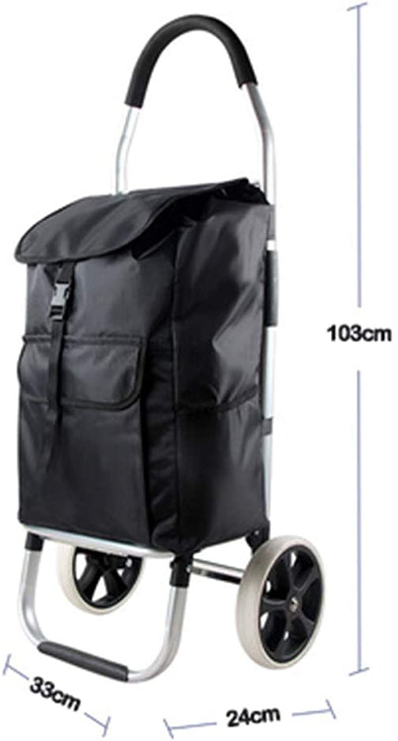 ShoppingTrolley 2 Wheels, Home Compact Rolling Groceries Laundry Tools Practical Market Carts Multi-Pocket Shopping Bags Folding Wearable Easy to Storage