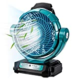 Cordless Jobsite Fan, 3 Speed Portable Jobsite Floor Fan Powered by DeWalt 14.4V-20V Battery ideal for Industrial, Commercial, Residential, and Greenhouse Use (USB & DC PORT ADAPTER OFFERED)