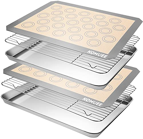 KOMUEE Stainless Steel Baking Sheet Tray Cooling Rack with Silicone Baking Mat Set, Cookie Pan with Cooling Rack, Set of 6 (2 Sheets + 2 Racks + 2 Mats), Non Toxic, Heavy Duty