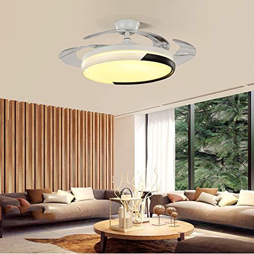 Techo Invisible Luz Del Ventilador 42 Pulgadas Control De Pared Invisible Light Ventilador, Sala De Estar Inicio Silencioso Comedor Ventilador De La Lámpara
