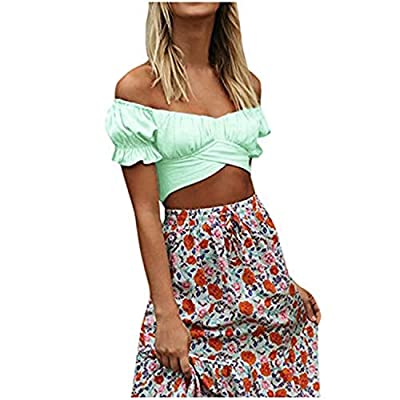 Excursion Clothing Women Off Shoulder Cropped Top Lantern Short Sleeve V-Neck Solid Color High Waist Lace Up Tops Blouse