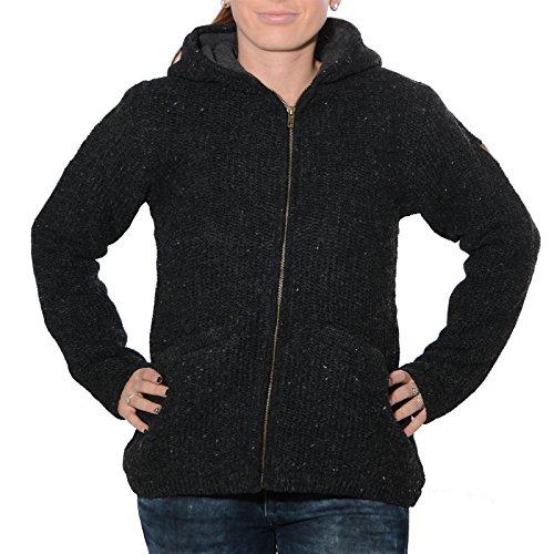 KUNST UND MAGIE Klassische Damen Strickjacke Wolle Jacke mit Fleecefutter und Zipfelkapuze, Größe:XS, Farbe:Black/Schwarz