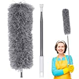 LIUMYARTISTORE Microfiber Dusters, Feather Duster with 100'' Extra Long Extension Pole, Bendable & Extendable & Washable Duster for Cleaning High Ceiling, Ceiling Fan, Blinds, Cobwebs, Furniture, Cars