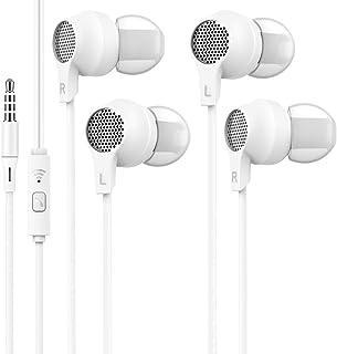 WalkerFit 2-pack hörlurar för införing i örat, hörlurar med mikrofon, vita