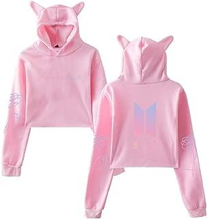 BTS Love Yourself Hoodie Kpop Long Sleeve Cropped Hoodies Pink Printing Women Cat Hooded