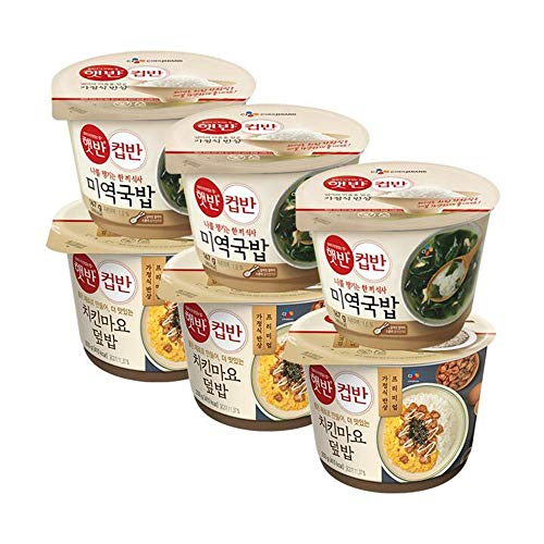 [ 6 Packs ] CJ Instant Rice Seaweed Soup 햇반 컵반 미역국밥 167g x 3, Chicken Mayo Bowl of Rice Served with Toppings 치킨마요덮밥 233g x 3