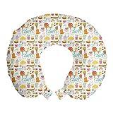 ABAKUHAUS nichoir Oreiller Cervical de Voyage, Jardin Articles Nest, Accessoire en Mousse à Mémoire pour Voyage, 30 cm x 30 cm, Abricot et Multicolor