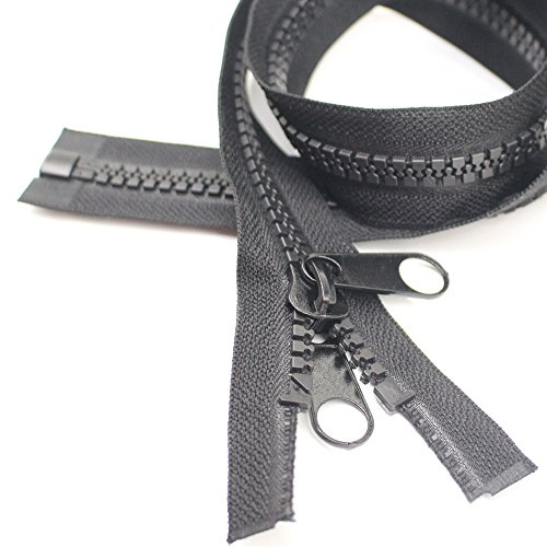 "YaHoGa 2PCS #10 60 Inch Separating Large Plastic Zippers Black Tape with Double Pull Tab Slider Heavy Duty Zippers for Sewing, Sleeping Bag, Boat, Canvas, Cover, Trampoline, Dog Bed, Tent (60"" 2pcs)"